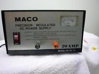 Power supplies regulated 20 amp  12 volt  Maco