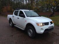 2010 10 Mitsubishi l200 pickup truck double cab crewcab kingcab no vat may px, white only 92000 mile