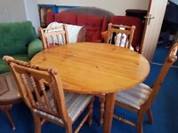 Solid pine Extending Dining Table and 4 Chairs