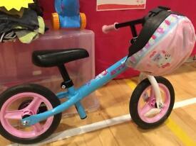 Girl's Balance Bike and Helmet