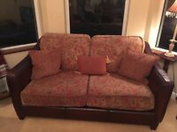 Sofa Leather and tapestry large 3 seater and two seater with footstool
