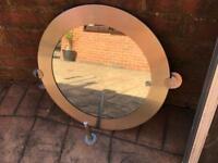 Bathroom mirror and matching toilet roll holder