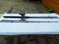 5 Fishing rods, some with reels