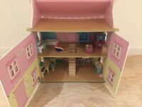 Wooden Pink Dolls House C/W Wooden Furniture