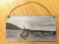 Wooden Plaque hand painted 'sail away with me' 6x4""