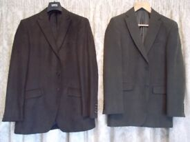 Two Gents Marks and Spencer jackets one size 38 Long Olive + one 40 long Brown Polyester jackets