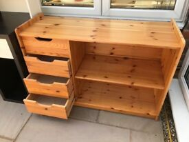 Pine chest of drawers with shelves