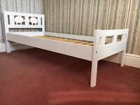 Ikea Kritter Bed frame with slatted bed base and mattress in great condition