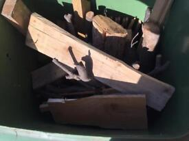 Free Wheelie Bin of assorted wood and more. Ideal for wood burners and fire pits.