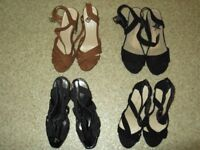 4 pairs of womens heeled shoes size 5