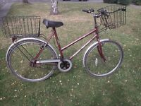 Ladies town bike with front and rear baskets