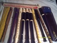 DESCANT RECORDERS A COLLECTION of AULOS ,SCHOTTS etc SOME IN CASES ++++