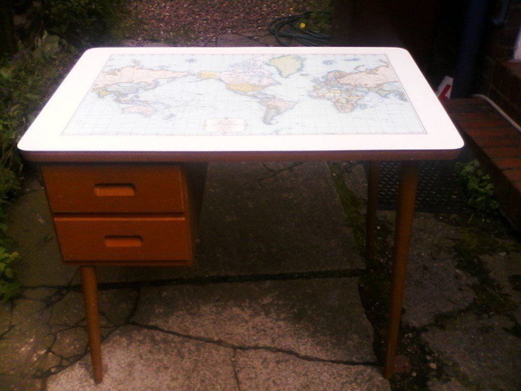 Vintage wood formica rand minally cosmopolitan world map table vintage wood formica rand minally cosmopolitan world map table desk with draws gumiabroncs Image collections