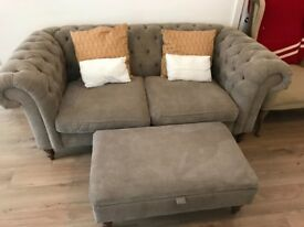Sofa nearly new Chesterfield Style 3 Seater and foot rest 5 yr guarantee and in perfect condition