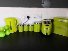 Lime green kitchen bits