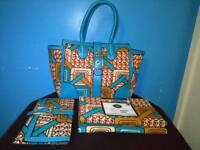 Handbag matching with wallet and Ankara fabric New design