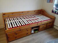 Single bed with storage drawers and good quality slatted frame