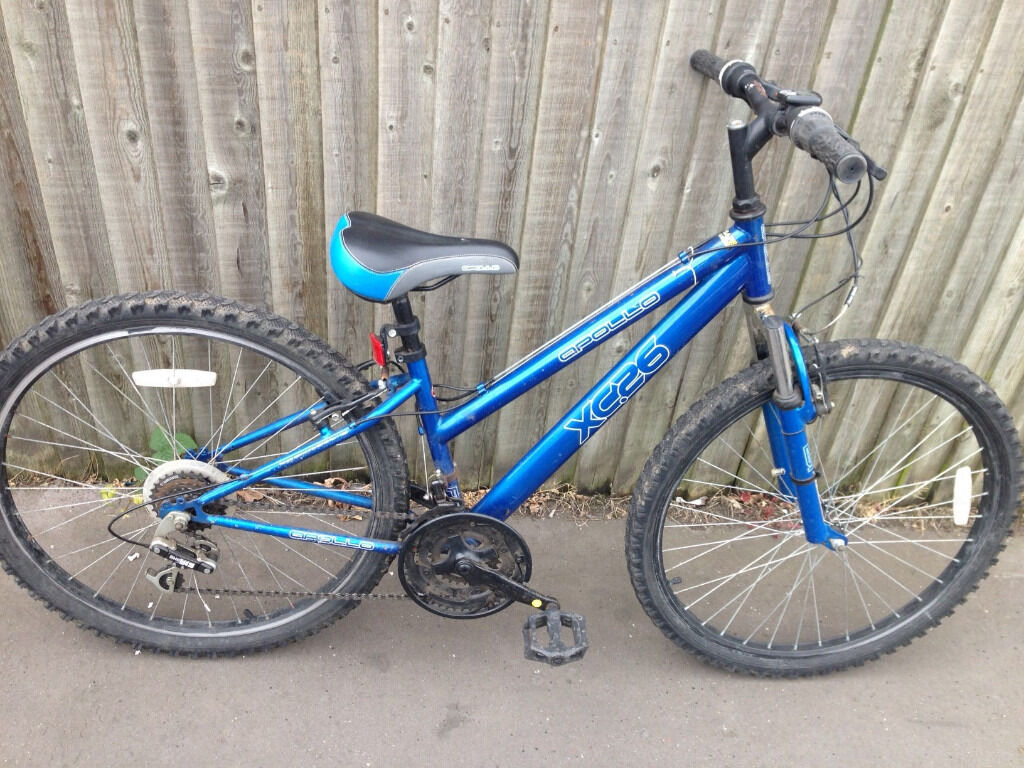 mountain bike Apollo XC26 blue mountain bike Apollo XC26 bluein Norbury, LondonGumtree - mountain bike Apollo XC26 blue good working order some scratches please refer to picture for condition size frame 14 wheel size 26 18 gears Collection from South London SW16