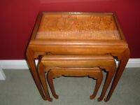 For sale, 1960's teak chinese hand carved nest of tables in beautiful condition with glass tops