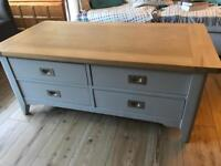 DFS grey and oak coffee table with 4 drawers