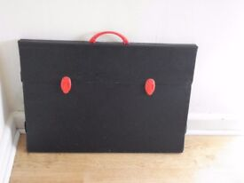 New Black A2 Art Portfolio Carry Case with red handle and red fastenings