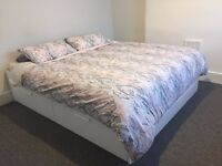 IKEA BRIMNES Bed frame with storage (4 Drawers) + Tritan Gold Deluxe Ortho Mattress + Beddings