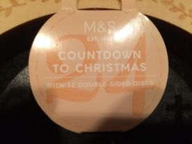 NEW M&S WOODEN LED COUNTDOWN TO XMAS CHRISTMAS ADVENT CALENDAR DECORATION HOME LIGHTUP KIDS, £10