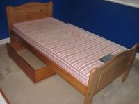 Single solid pine bed with mattress & underbed storage box