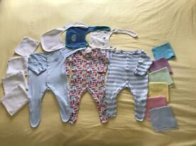 Sleepsuits x 3. 0-3 months. John Lewis & Tu. 3 bibs. 10 cloths. No rips or tears.