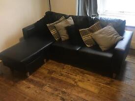 Black Faux Leather Corner Sofa