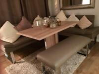 Dining room table and booth