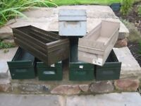 Metal storage drawers/boxes x 7. Ideal for workshop/garage use. Industrial style.