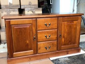 Wooden cupboard and drawer unit for lounge or dining room