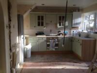 Green Vinyl Clad Kitchen Base & Cupboard Units, with Worktop, Plinth Etc.