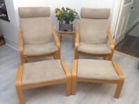 2x Ikea Poang Rocker chairs and matching footstools. £300 when new, great condition, Grab a bargain