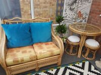 Wicker Conservatory Furniture 2 seater sofa & table with 2 Stools