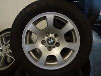 "SET OF 5 GENUINE 16"" BMW ALLOYS UNIROYAL TYRES £170 ***also fit vxhall vivaro & renault traffic***"