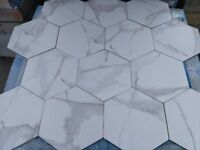 Cararra marble look hexagon shaped porcelain tiles - 10 square metre joblot