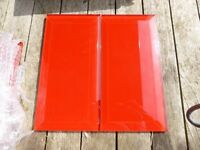 RED GLASS TILES X 35 100mm x 200mm x 6mm