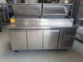 3 DOOR STAINLESS STEEL SALADETTE PIZZA TOPPING FRIDGE AST250