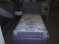 LUCCA single frame bed in grey with high headboard , new