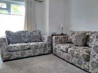 Two Grey Fabric Modern Sofas - each seating 2 people