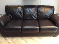 Leather 3 seater sofa leather couch. Excellent condition very little use