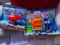 2 Blippi toys brand new in box rocket and garbage truck
