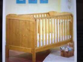Country Pine Cot Bed and Drawer