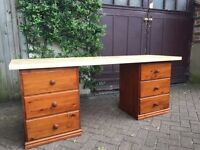 Solid wooden desk / table - 6 drawers - study or office