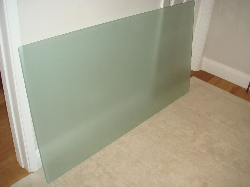 Tempered frosted glass desk table top ikea galant no for Ikea glass table tops