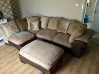DFS Corner Sofa With Armchair And Pouffe