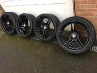 "Black BMW genuine 313 19"" alloy wheels - staggered- 1 3 5 series m3 alloys"