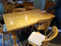 table and 6 chaors solid pine. vgc also washone machine